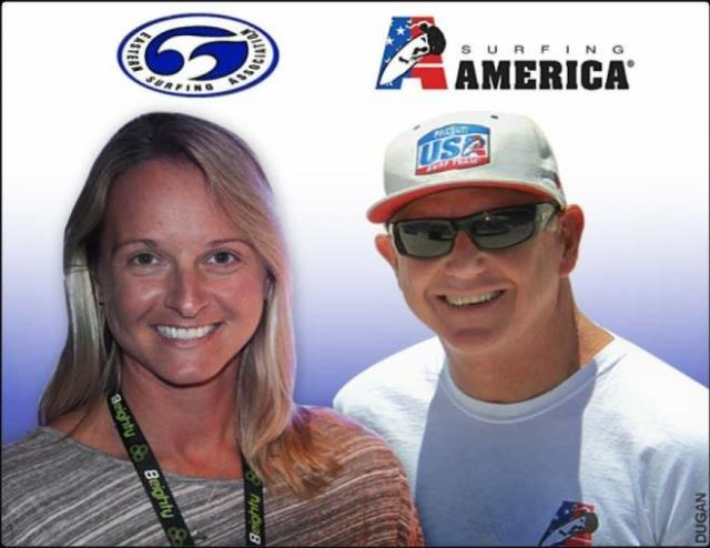 ESA's Michelle Sommers and Surfing America's Greg Cruse